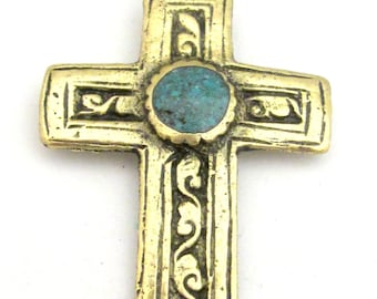 1 Pendant - Tibetan brass repousse cross pendant reversible with floral design and turquoise inlay- PM352C
