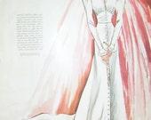 Cherishable Wedding Gown Illustration by Blanche Rothschild, 1937 Magazine Page, ,, Reverse Side Artist Jean des Vignes  Fashion ad