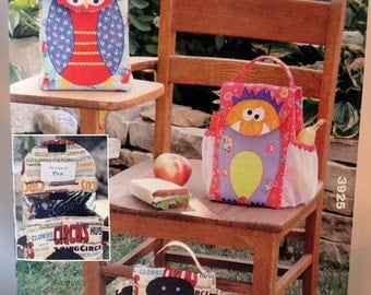 Kwik Sew 3925, Lunch Bag Pattern, Sewing Pattern, Whimsical Lunch Bag Sewing Pattern, Owl, Monkey, Monster & Me, New, Uncut