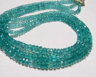 276 Crt - AAAA - High Quality Gorgeous Aqua Blue - APATITE - Micro Faceted Rondell Beads Necklace size 4 - 7 mm 3 strand - 15 inches Long