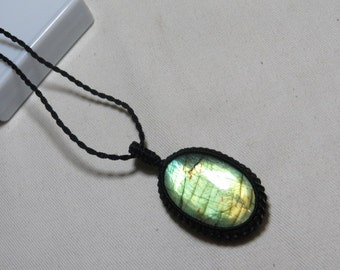 Labradorite - Marcrame Pendant - So Nice Full Flash Fire Oval shape Pendant - Stone size 30x40 mm Approx