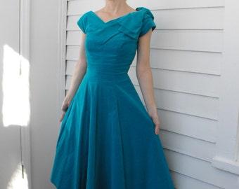 50s Velvet Dress Vintage Turquoise Blue Party Cocktail XS