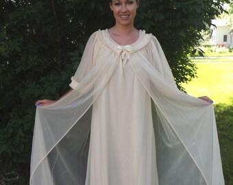 Vintage Tosca Peignoir 60s Lingerie Nightgown Set Chiffon L