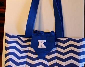 Quilted Handbag Purse Royal blue chevrons quilted fabric handbag - Free monogramming