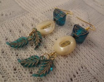 Genuine Mother of Pearl and Aqua Feathers Long Dangle 22k Gold Earrings - Melanie G103