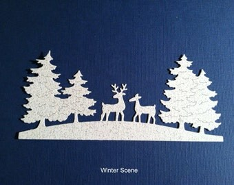 Christmas Die Cuts -Winter Scene -Glitter - Set of Three - Great for Cards