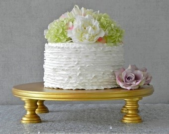 "Gold Cake Stand 18"" Wedding Cake Stand Cupcake Gold Cake Topper Vintage Wedding Decor E. Isabella Designs Featured In Martha Stewart Wedding"