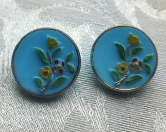 Vintage Baby Powder Blue Milk Glass Buttons W/hand-painted Floral Design Retro