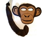 Monkey Mask and Tail, Monkey Costume, Chimpanzee Mask, Dress Up, Jungle Animal Birthday Party Favor, Children's Halloween Costume