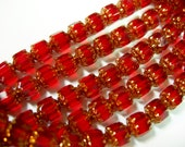 25 6mm Ruby Red with Gold Firepolished Cathedral Czech Glass Beads