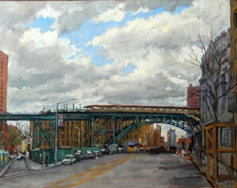 Cloudy Day West 125th St and Broadway, NYC. 18x24 New York City Realist Oil Painting, Large Impressionist Cityscape, Signed Original