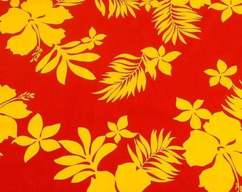 Classic Red and Yeloow Hawaiian Print Fabric  (Yardage Available)