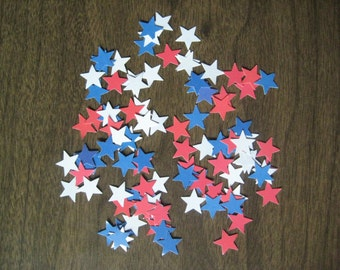 Reclaimed paper confetti stars - patriotic bright, small