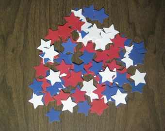 Reclaimed paper confetti stars - patriotic bold