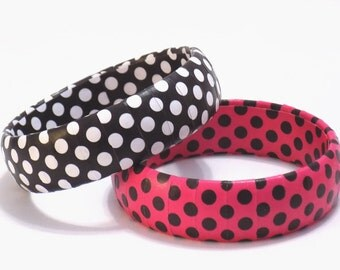 Polka Dot Bracelets, Polka Dot Jewelry, Retro Bangle, Hot Pink with Black Polka Dots, Black with White Polka Dots, Rockabilly Bracelet