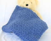 Crochet baby blanket denim blue boy soft afghan infant crib bedding fluffy newborn shower gift photography prop bulky washable