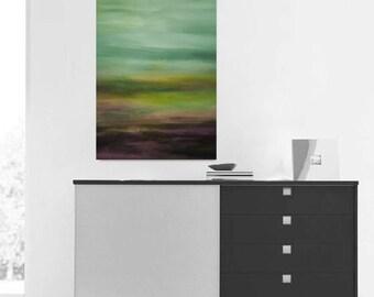 Original Green Landscape,Green Large Abstract, Large green Painting, Original Painting, 48x24, Free shipping,Huge green art,Custom painting