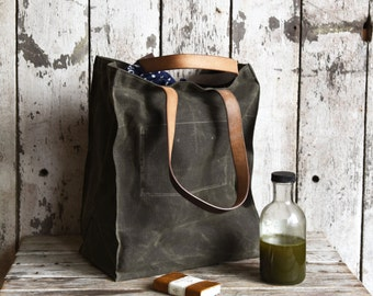 Waxed Canvas Marlowe Carryall in Moss, Tote, Waxed Canvas Bag, Shoulder Bag, Market Tote, Waxed Canvas Carryall, Leather, For Him, For Her