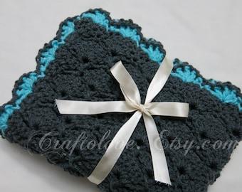 Crochet Baby blanket- Baby blanket- Baby Boy Blanket- Charcoal Grey/Blue Panel Shells Stroller/Travel/Car seat blanket- Baby boy shower gift
