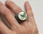 Hand Felted Wool Ring with Button Embellishment Child-Adult Sizes Available