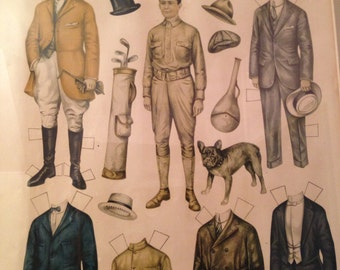 framed Betty Bonnet's Big Brother paper doll cut-out from 1917