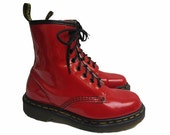 Vintage Dr Martens Airwair Boots Made In England Womens Red Patent Leather Eight Eyelet Combat Boots Fits Wms US Size 6