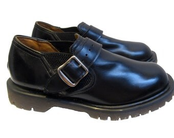 Vintage John Fluevog Shoes with Dr Martens Air Cushioned Soles Made In England Fits Mns US Size 7 Mens Black Leather Doc Martens Shoes