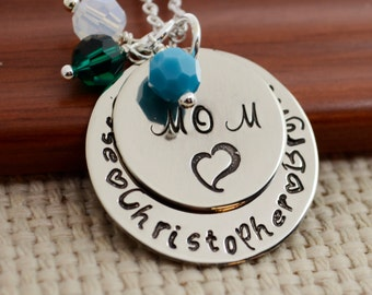 Mother's Day Necklace, Hand Stamped Jewelry, Custom Neckace, Mom, Mommy, Mother, Birthstone