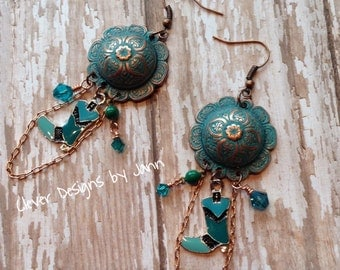 Cow Girl Earrings, Country Chic, Chandiler, Boot, Turquoise