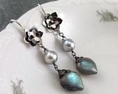 Labradorite heart earrings, handmade Akoya saltwater pearl, sterling silver flower earrings-OOAK