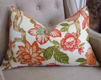 "Timothy Corrigan for Schumacher - Huntington Gardens in coral - 16""x24"" - Pattern on the front"