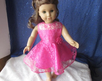 Hot pink lace dress for your American Girl doll
