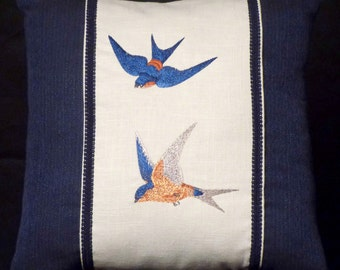 New Blue Embroidered Swallow Birds Accent Pillow New 18 x 18 Insert — Item 157