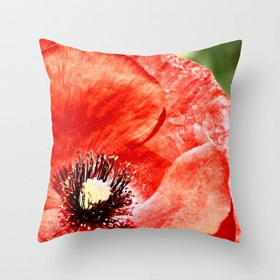 Red Poppy Decorative Pillow : Red Poppy Pillow Summer Garden Pillow Home Decor Pillow