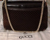 Gucci Suede Bag Chocolate Gucci Logo - for ELIZABETH
