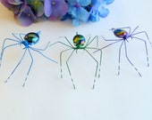 Handmade Medium Spiders in Blue Green and Purple Perfect Gift for Entomology Lover