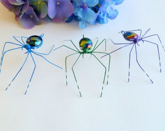 Three Medium Iridescent Black Spiders Unique Gift Garden Party Hostess Gift Wire Art Spider 3 inch Special Effects Bug Cute Colorful Insects