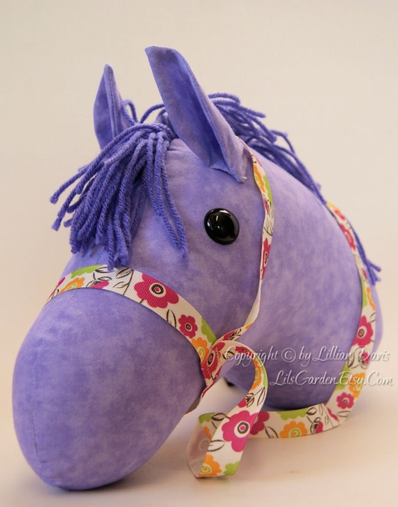 Lavender Stick Horse Head, MADE to ORDER, With or Without Stick, Lavender Mane and Flower Bridle