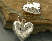 Hammer Finish Puffed Heart Large Sterling Silver - C2436, Heart Charms, Pendants