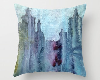 City Abstraction Watercolor Throw Pillow Cover