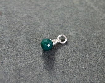 Tiny Emerald May Birthstone Pendant, Sterling Silver Wire Wrapped Gemstone Jewelry - Add a Dangle