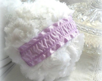 Lavender Powder Puff - lilac and white bath pouf - handmade powderpuff - gift boxed - by Bonny Bubbles