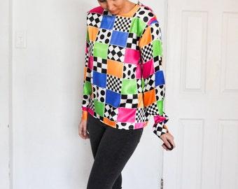C O O L 1980s Bright Checkered Polka Dot Silk Satin Top Shirt Blouse