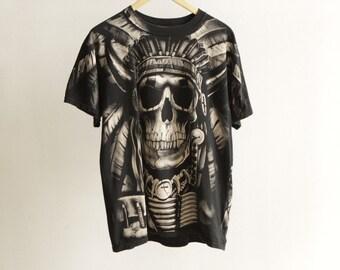 BIKER 90s SKULL sons of anarchy BLACK t-shirt