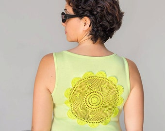 Lime green Tank Top with upcycled vintage crochet doily back - Size L