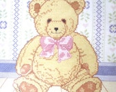 Teddy Bear Counted Cross Stitch Kit, Unused Vintage Kit from Golden Bee with Frame
