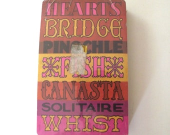 Playing Card Deck with Vintage Typography Design, New Old Stock Sealed Package in Pink and Orange