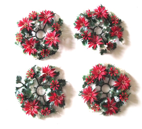 Christmas Candle Rings Set of 4 Vintage Plastic Poinsettia