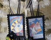 Vintage Halloween tags paper art ornament glittered victorian women tag postcards halloween paper ornaments black glittered tags mixed media