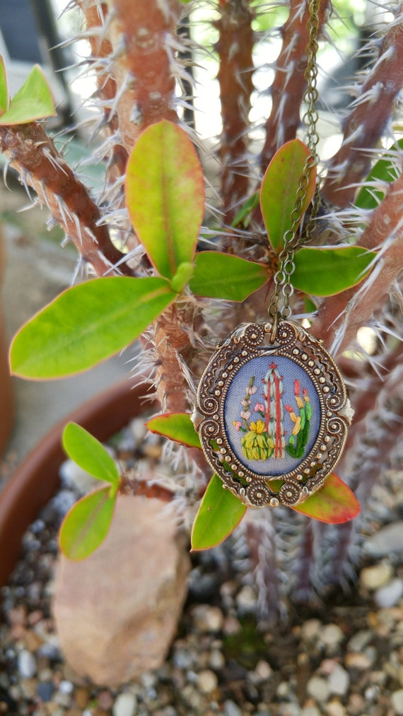 Lil Cactus Study No. 3- hand embroidered necklace, desert, succulent, cacti